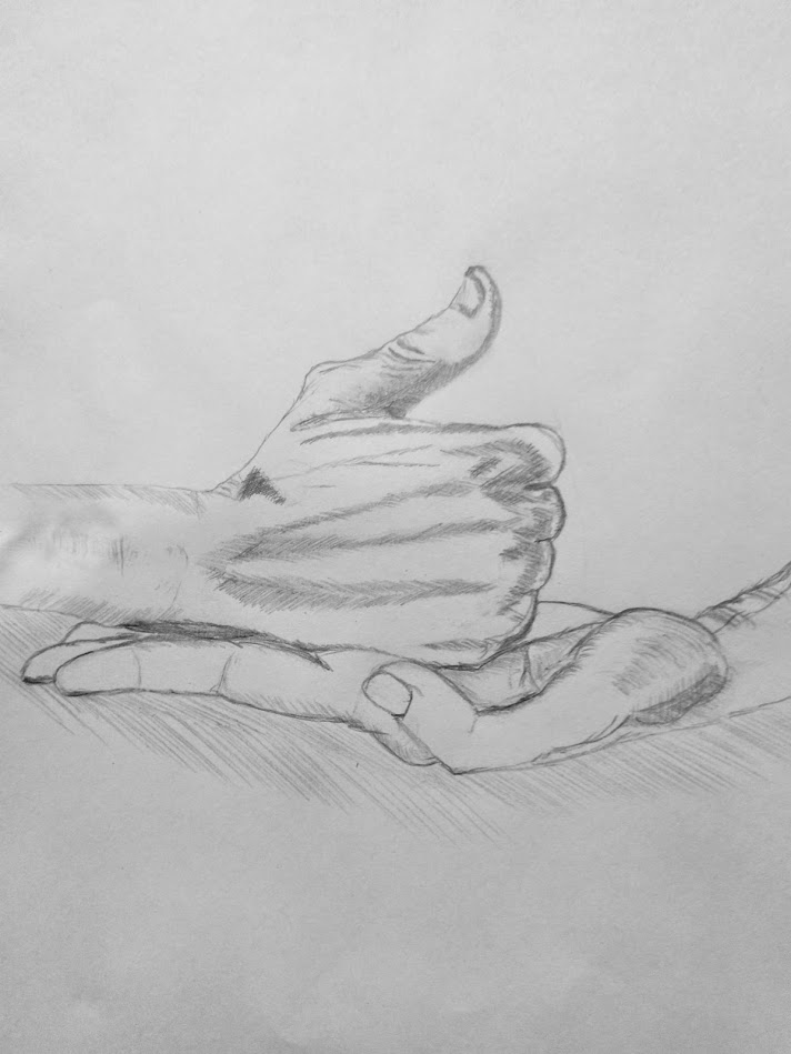 Aesthetic Blasphemy | Pencil sketch of the 'Agni mudra' (Open thumbed fist on another palm signifying flame and fire)
