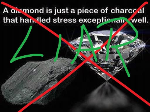 Diamonds are not formed of coal