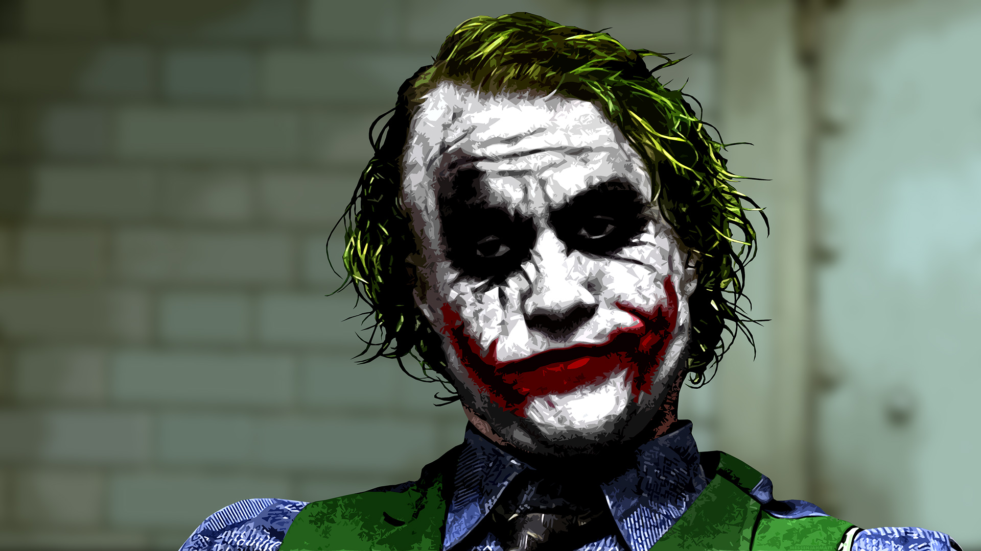 Joker (Heath Ledger) in interrogation room