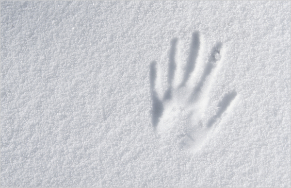 Hand impression on snow